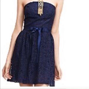 Trina Turk navy lace strapless dress holiday